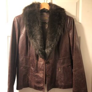 Woman's genuine brown leather Guess jacket size M